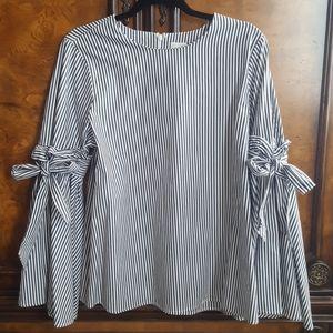 Cupio Striped Bell Sleeve Top